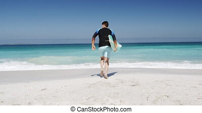 courant, homme, plage