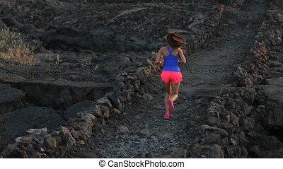 courant, jeune, paysage, aride, femme, athlète