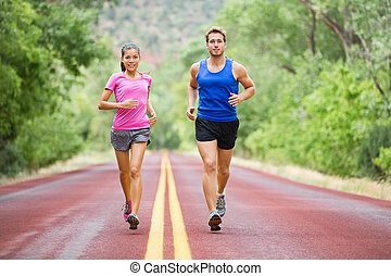 courant, jogging, sport, couple, fitness