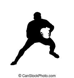 courant, joueur rugby, boule contagieuse, vecteur, silhouette