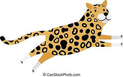 courant, léopard, dessin animé, icône