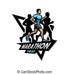 courant, marathon, logo., emblème