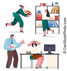 courant, ouvriers, chaos, confondu, archive, fichiers, boîte, serching, bureau, femme, bureau, dossiers