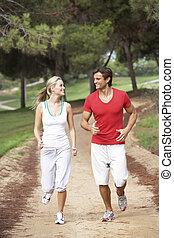 courant, parc, couple, jeune