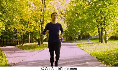courant, park., jeune homme, fitness