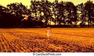 courant, petite fille, cerf volant