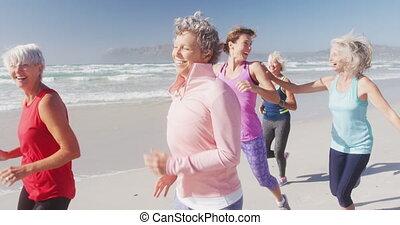courant, plage, athlétique, femmes
