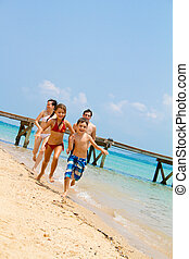 courant, plage, famille
