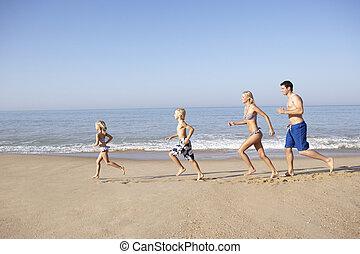 courant, plage, jeune famille