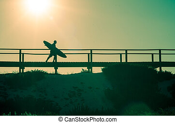 courant, plage, surfeur