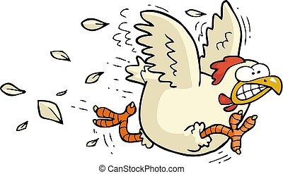 courant, poulet, dessin animé