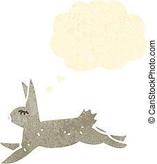courant, retro, lapin, dessin animé