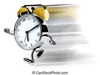 courant, reveil, jambes, bras, horloge