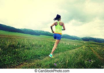 courant, style de vie, coureur, sain, fitness, prairie, femme, jeune