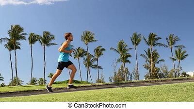 courant, type, -, parc, homme, été, jogging, vivant, actif