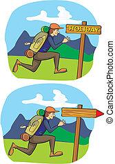 courant, vacances, -, touriste