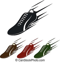 courant, vecteur, chaussure, icône