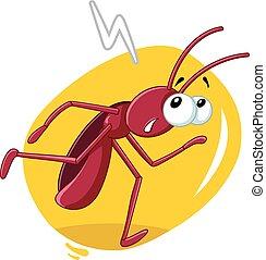courant, vecteur, insecte, cafard, dessin animé