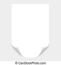 courbé, blanc, papier, coin