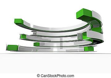 courbé, blanc, vert, structure