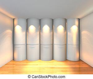 courbé, blanche salle, vide, galerie