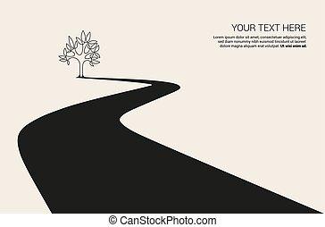 courbé, boîte, nature, parfait, conception, logo., bannière, tourisme, route, panneau affichage, arbres, illustration, utilisé, ou, theme., être, pays, voyage, vecteur, camping, forêt, autoroute, manière