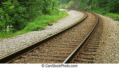 courbé, chemin fer traque