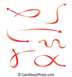 courbé, ensemble, flèches, rouges