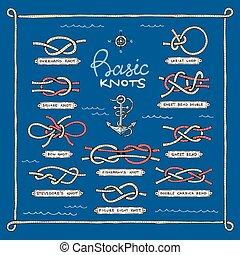 courbé, ensemble, noeud, bowknots, noué, ou, isolé, illustration, arc, corde, vecteur, carrée, fond, nautique, épineux, marin, overhand, boucle