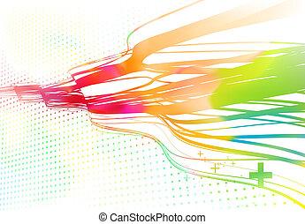 courbé, lignes, fond, coloré