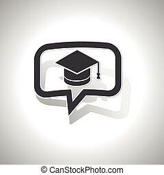 courbé, message, remise de diplomes, icône