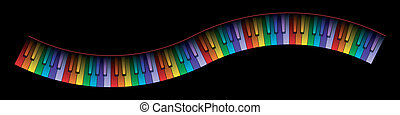 courbé, piano, couleurs, clavier