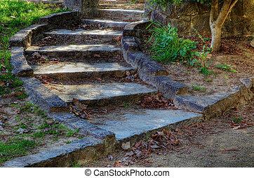 courbé, pierre, escalier, hdr