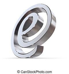courbé, symbole, brillant, e-at