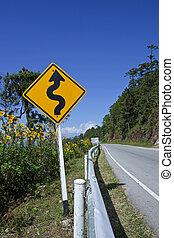 courbé, trafic, panneaux signalisations