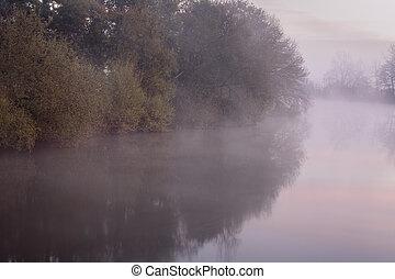 courbe, brumeux, rivière