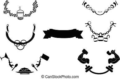 courbe, conception, ruban, icône