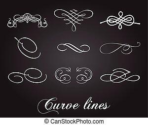 courbe, ensemble, lignes