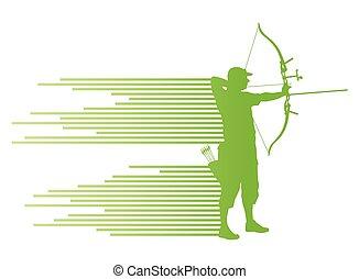 courber, concept, archer, arc, vecteur, fond, homme