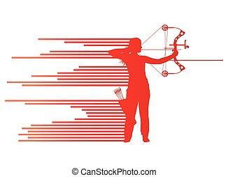 courber, concept, archer, vecteur, arc, femme, fond