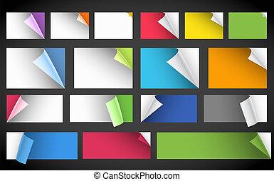 courber, couleur, coins, collection, papier, feuilles, vide