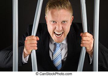 courber, homme affaires, barres, prison
