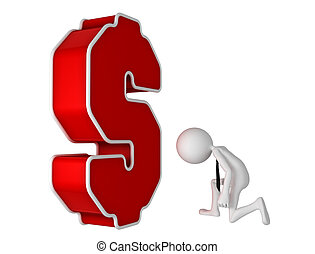 courber, symbole., monnaie, genou, devant, homme affaires, ...