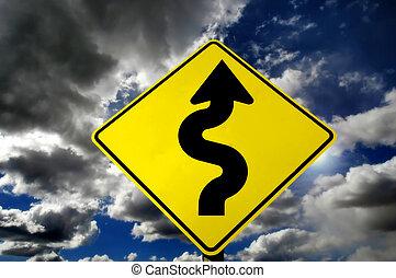 courbes, devant, orage