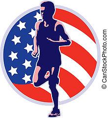coureur, américain, courant, marathon, retro