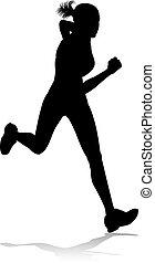 coureur, champ, courses, silhouette, piste