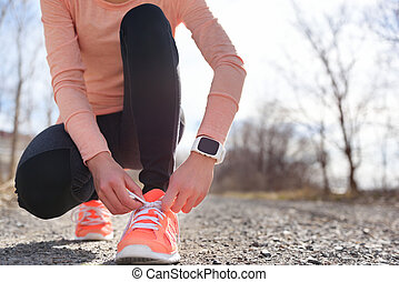 coureur, chaussures courantes, smartwatch, sports