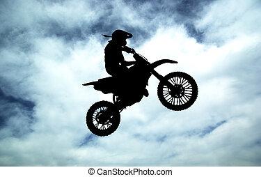 coureur, ciel, moto