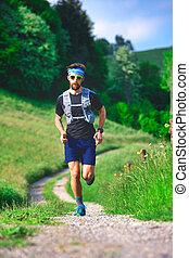 coureur, colline, distance, formation, long