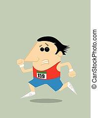 Coureur dessin anim marathon enj leur style coureur illustration vectorielle - Coureur dessin ...